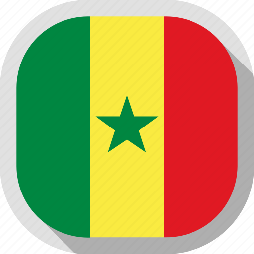 circle, country, flag, rounded, senegal, square icon