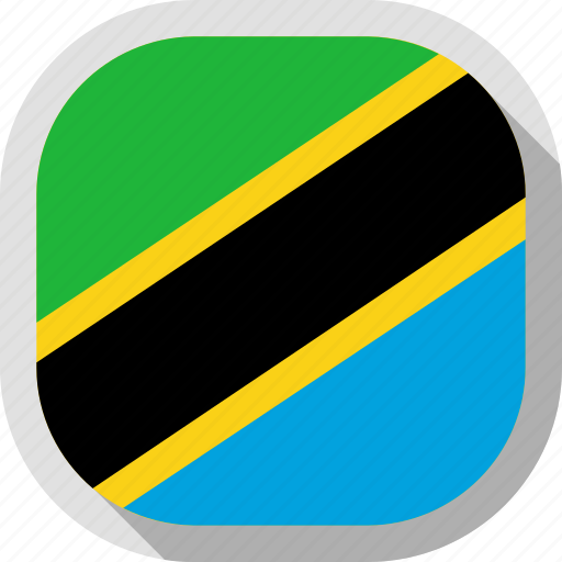 circle, country, flag, rounded, square, tanzania icon