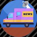 news, broadcasting, vehicle, satellite, transportation