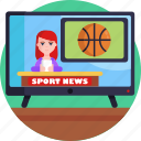 news, broadcasting, sports news, television news, reporters, tv icon