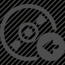 arrow, button, cd, disk, dvd, left icon