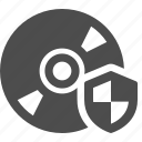 cd, disk, dvd, security, shield icon