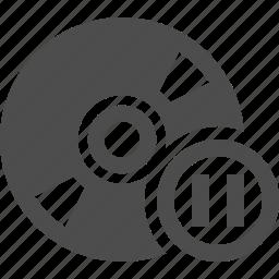 bluray, button, cd, disk, dvd, pause icon