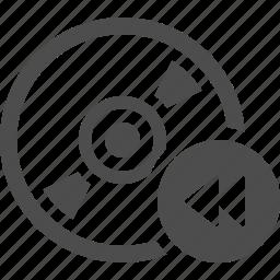 button, cd, disk, dvd, multimedia, rewind icon