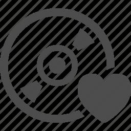 bookmark, cd, disk, dvd, favorite, heart icon
