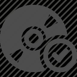 button, cd, check, disk, dvd, multimedia, ok icon
