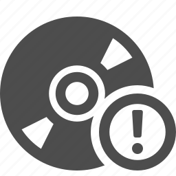 button, cd, danger, disk, dvd, exclamation, warning icon