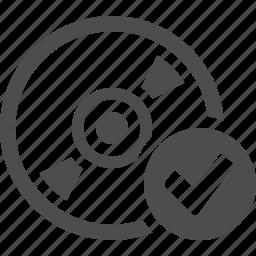 bluray, button, cd, check, disk, dvd icon