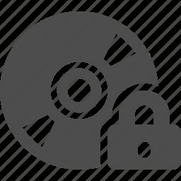 cd, disk, dvd, lock, locked, multimedia, security icon