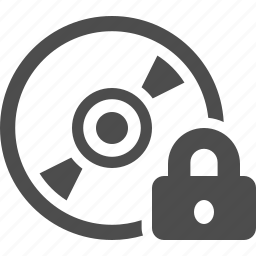 cd, disk, dvd, lock, locked, protected, security icon