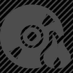 burn, cd, disk, dvd, flame, multimedia, write icon