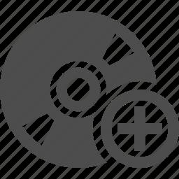 add, button, cd, disk, dvd, multimedia, plus icon