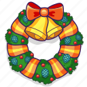 bells, bow, christmas, decoration, holiday, wreath icon