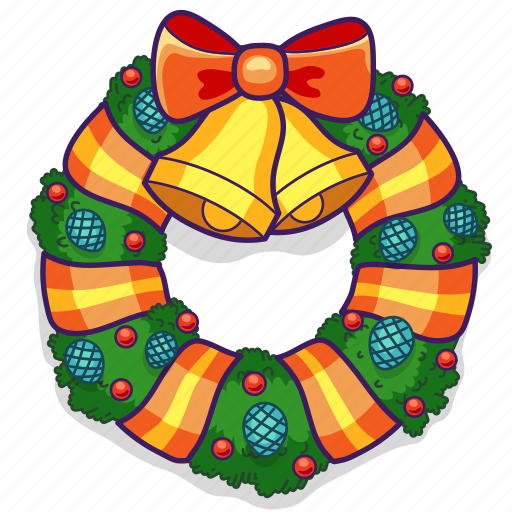 Bells, bow, christmas, decoration, holiday, wreath icon - Download on Iconfinder