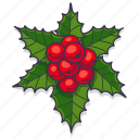 berries, christmas, decoration, leaves, xmas icon