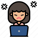 angry, mad, offended, upset, woman, working