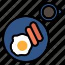 breakfast, egg, sausage, coffee, morning