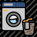 washing, machine, laundry, basket, clothes