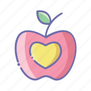 apple, book, dessert, food, fruit, logo icon