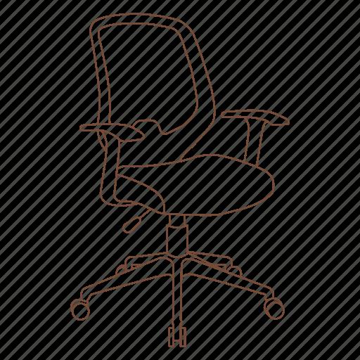 chair, desk, ergonomic, office, rolling icon