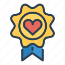 award, badge, casino, heart, medal, prize, winner icon