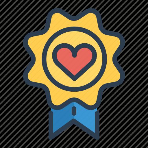 award, badge, casino, heart, medal, prize, winner icon