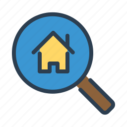 appartment, explore, house, magnifier, property, real estate, search icon