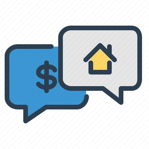 dialogue, discussion, house, property, purchase, real estate, sales icon