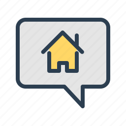 apartment, bubble, building, house, message, property, real estate icon