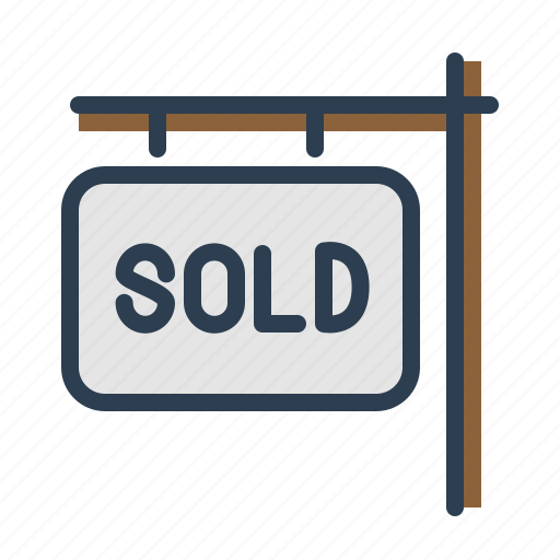 house, information, sign, sold icon