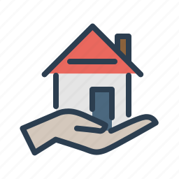 apartment, hand, home loan, house, mortgage, property, real estate icon