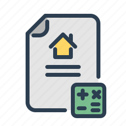 calculation, document, mortgage, price, property, real estate, sell house icon