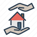 care, hands, home insurance, home loan, property, real estate, secure icon