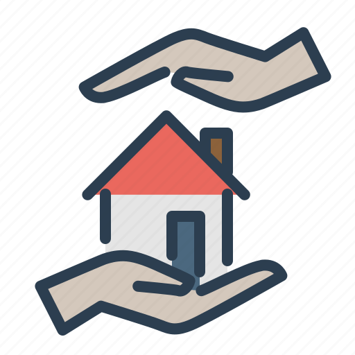 care, hands, home insurance, home loan, property icon