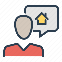 business talk, consultant, house, property, real estate, service, support icon