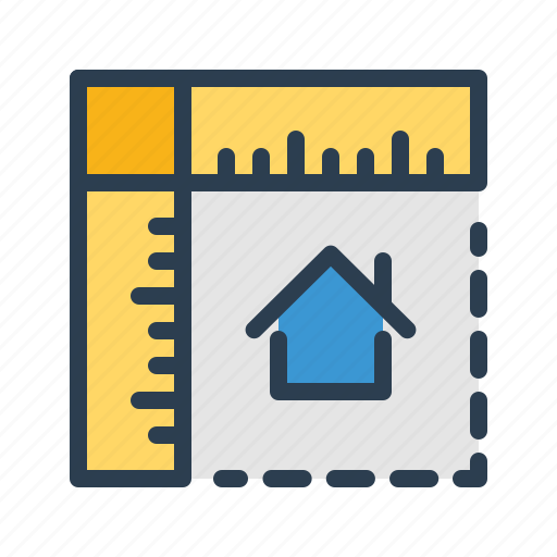 house, measurement, planning, property, rulers icon