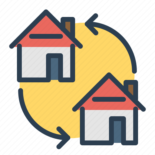 apartment, arrows, change, home exchange, house, loan, real estate icon
