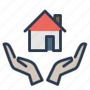 hands, home insurance, home loan, house, property, real estate, safe icon