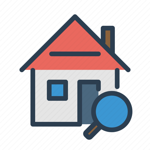 explore, home loan, house, magnifier, property, real estate, search icon