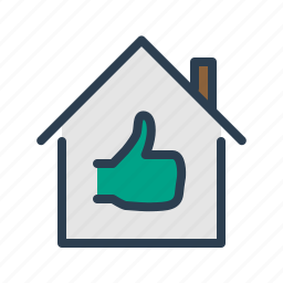 apartment, building, feedback, house, property, real estate, thumb up icon