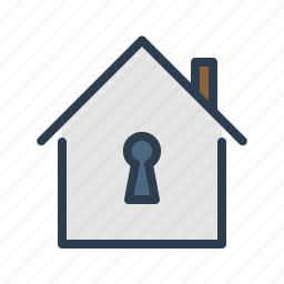 home, house, key hole, lock, private, property, real estate icon