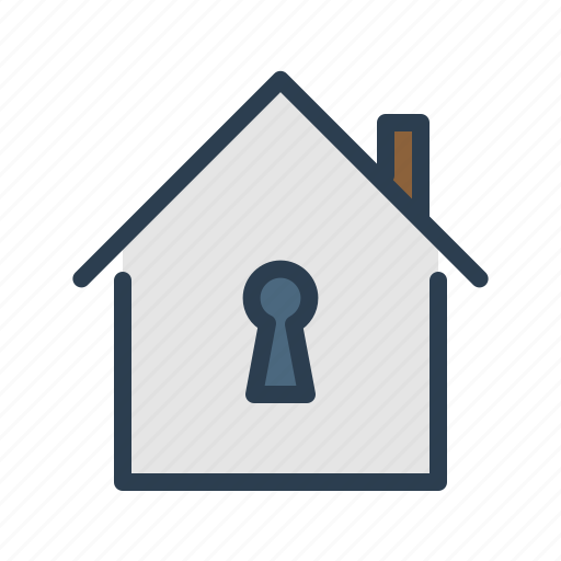 house, key hole, lock, private icon