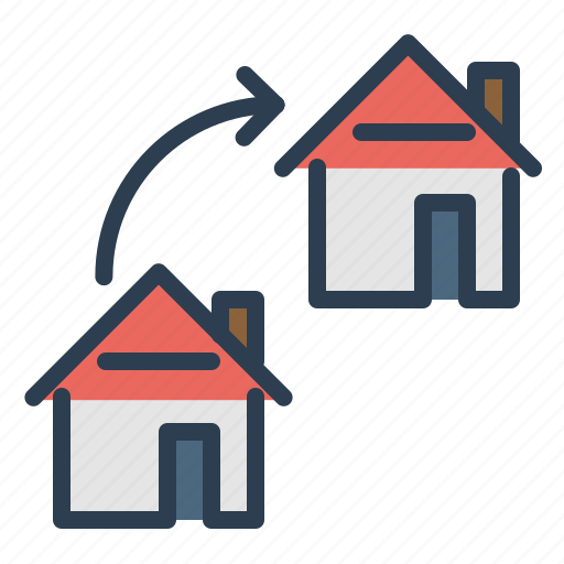 arrow, exchange, home loan, move, property, real estate, rent appartment icon