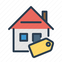 discount, home loan, house, pricetag, property, real estate, sell apartment icon