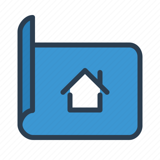 architect design, blueprint, building construction, house plan icon
