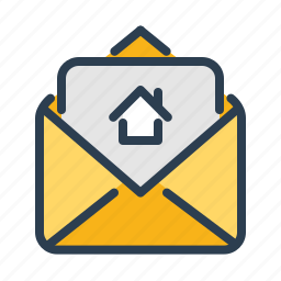 document, email, envelope, house, property details, real estate, rent contract icon