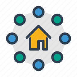 apartment, communication, home, house, property, real estate, social service icon