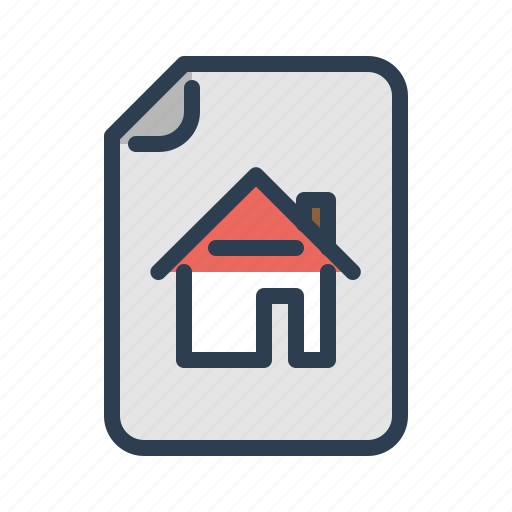 contract, document, file, home rent, house, property, real estate icon