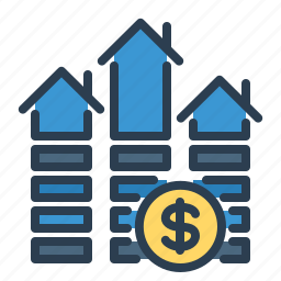 dollar, growth, home loan, house, mortgage, property price, real estate icon