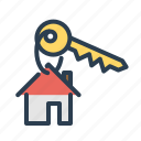 door, home, house, key, property, real estate, security icon